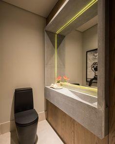 Lavabo pequeno: 60 ambientes bonitos e funcionais com pouco espaço Guest Toilet, Corian, Corner Bathtub, Tiles, Sweet Home, Mirror, Bathroom, Furniture, Home Decor