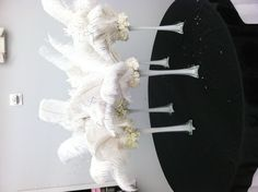 real ostrich feather centerpieces that I made for the guests tables at the reception