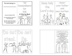 Ten Commandments for Kids - A mini coloring book with simple cartoon images to help teach little ones the Ten Commandments. Contains a bonus page of the Ten Commandments to use as a coloring page (separately or a poster, etc.).