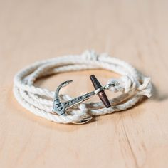 HOLD FAST Maritime Anchor Bracelet - Sterling Silver on Nautical Rope - Maritime Supply Co   - 1
