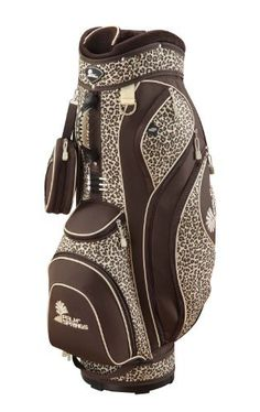 "PALM SPRINGS GOLF 14 Way Divider LEOPARD Cart Bag by Unknown. $74.99. 9.5"" diameter 14 way padded top, detachable valuables tote, 8 exterior zippered pockets, fleece-lined watch pocket, matching zippered rain hood, umbrella holder, external putter well, padded adjustable shoulder strap. Lightweight & durable nylon construction. All pockets are accessible while bag is on power or pull cart. Color combination: Leopard/dark brown. Brand new. Save 63%!"