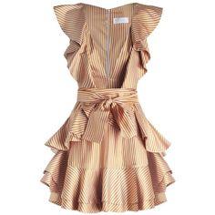 ZIMMERMANN Winsome Flounce Dress ($800) ❤ liked on Polyvore featuring dresses, stripe dresses, striped mini dress, short ruffle dress, low v neck dress and zimmermann dress