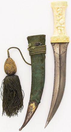Persian jambiya dagger, 19th century, steel, ivory (elephant), wood, velvet, silver, silk, H. with sheath 14 1/2 in. (36.8 cm); H. without sheath 13 5/8 in. (34.6 cm); W. 2 1/16 in. (5.2 cm); Wt. 7.1 oz. (201.3 g); Wt. of sheath 2.7 oz. (76.5 g), Met Museum, Bequest of George C. Stone, 1935.