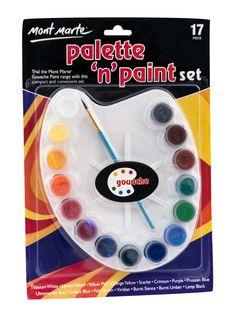 Mont Marte Palette n Paint Set - Gouache Art Shed, Titanium White, Paint Set, Gouache, Ds, Paint Colors, Craft Supplies, High School, Palette