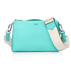 Crossbody Bag In Tiffany Blue. Grain Calfskin Leather - Blue - Tiffany & Co. Tiffany Blue Box, Tiffany & Co., Cosmetic Case, Leather Design, Luxury Bags, Small Bags, Purse Wallet, Leather Bag, Crossbody Bag