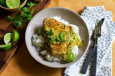 Seared Coconut-Vindaloo Swordfish--might use a cheaper/less terrible for the environment fish, but looks amazing.