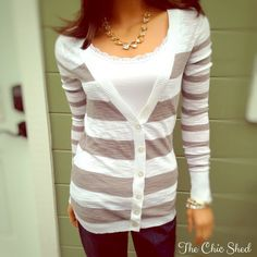 Express Gray and White Striped Cardigan Sweater Classic and casual! Great stripe pattern. Snugly fit. EUC! The Chic Shed; A Current and Classic Fashion Curation.  10% OFF BUNDLES I ❤️ THE OFFER BUTTON ❌NO PP, TRADES, HOLDS❌  15% OFF RETURN BUYER BUNDLES Express Sweaters Cardigans