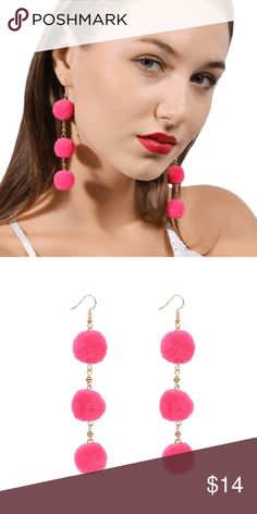 """Dangle Pom Pom Earrings Pink Gold Tone Playful styling offered in this chic dangle pom pom earrings. Great accessory and a unique gift.                                                                Metals Type: Zinc Alloy                                             Material: Alloy, Faux Fur                              Length: Approx. 3.9""""                                             Add to Cart :) UShopTwo Jewelry Earrings"""
