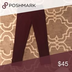 Lululemon workout pants Cropped burgundy pants with detail on the hips and cuffs at the bottoms lululemon athletica Pants Track Pants & Joggers