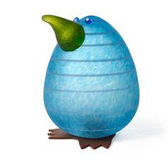 Kiwi Egg Paperweight: 24-02-92 in Blue, Hand-Blown Art Glass by Borowski Glass Studio