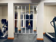 DIY Mirror Wall - Home Gym on a Dime - Tami in Between Basement Workout Room, Workout Room Decor, Home Gym Basement, Home Gym Garage, Workout Room Home, Gym Room At Home, Diy Garage, Garage Ideas, Garage Storage