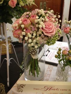 Vintage wedding bouquet. Pink roses By Shelley Whiting
