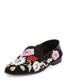 ALEXANDER MCQUEEN Flower-Embroidered Suede Loafer, Black/Multi. #alexandermcqueen #shoes #flats