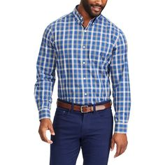 Big & Tall Chaps Classic-Fit Stretch Poplin Button-Down Shirt, Men's, Size: Xl Tall, Blue