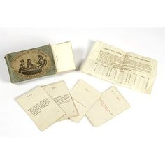 c.1790 Grammatical Conversation or English Grammer Familiarised. English grammar was inculcated by this game. Cards are divided into 2 sets, 1 of questions & 1 with answers. The answer cards are dealt while one person, probably an older child or adult, holds the questions and key card. As each question is answered correctly, the players relinquish their cards. Whoever gets rid of their cards first wins. Could include a gambling by having a pool & rewards & forfeits. V E.5306& 1 to 61-1960