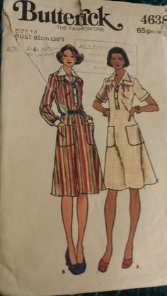 Vintage 1970s Sewing Pattern Butterick 4638 Misses A-Line Semi-fitted Dress B36