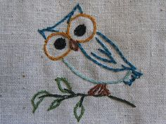 embroidered owl -- so cute! #owls
