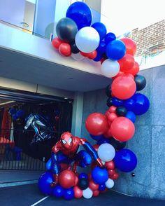 Superhero theme balloon decorations #entrance #spiderman #spidermanballoons #incrediblespiderman #jumboballoons #organicballoons #superheroparty #boysparty #birthdayboy #balloonentrance #kidspartyinspo #kidsparty #quirkyballoons #sons #boys #blueandred