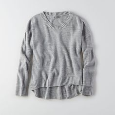 AEO Don?T Ask Why Hi-Low Sweater ($55) ❤ liked on Polyvore featuring tops, sweaters, grey, american eagle outfitters sweaters, grey top, grey sweater, crew neck sweaters and gray crewneck sweater