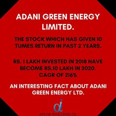 An Adani Group company, Adani Green Energy is an Indian renewable energy company. In 2018 it was trading at ₹30 per share. Today it Ended at ₹335 per share. A ten fold increase in 2 years. Recently this company won the worlds largest solar bid worth $6 Billion. The company is trading at its all time high price. But the company has reported a loss for the year 2020. This company is consistently reporting lossing since 2017. Why is the stock going up?  Follow @alphainvestingco  Tags… Adani Group, Renewable Energy Companies, Group Company, Group Of Companies, Stock Market, Worlds Largest, Instagram Feed, Fun Facts, All About Time