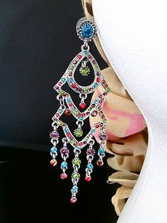4 Long Jewel Tone Gem CHANDELIER EARRINGS sparkly prom homecoming glitz pageant