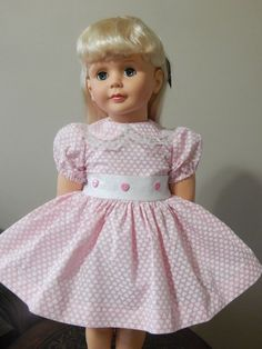 Delicate Pink w Tiny Hearts Dress for Patti Playpal Ag Clothing, Ag Doll Clothes, Ag Dolls, Girl Dolls, Antique Dolls, Vintage Dolls, Dolly World, My American Girl Doll, Tiny Heart