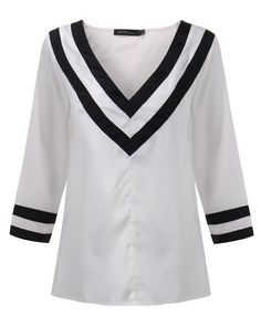 Casual Loose Women V Neck Stripe Patchwork Pullover Blouse