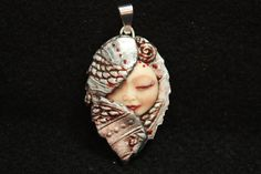 Fairy Pendant Moon Face Goddess Faux Silver Polymer Clay Bead.