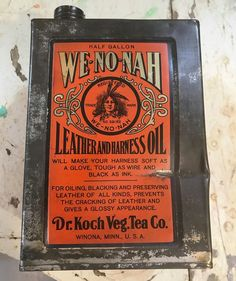 Early Original We-No-Nah Leather Harness Oil Can