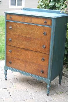 From the 30's or 40's this tallboy dresser is painted in Aubusson with Dark Glaze. By Refabulated Vintage & Retro Furniture of Niagara.