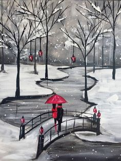 Snow covered trees, creek and bridge with red umbrella. Paint Nite events near Minneapolis, MN