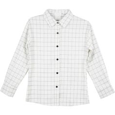 GRID SHIRT (€13) ❤ liked on Polyvore featuring tops, shirts, white, white shirt, shirt tops and white top