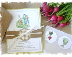 Peter Rabbit in the Vegetable Patch - CUSTOM INVITE ENSEMBLE - Recycled Kraft and Spring Moss Green Color Scheme - By the Dozen