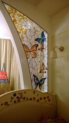 "Make a distinct segment, stained glass window in a distinct segment, a distinct segment within the wall design. Stained glass area of interest ""butterflies"" Stained Glass Designs, Stained Glass Panels, Stained Glass Projects, Stained Glass Patterns, Leaded Glass, Stained Glass Art, Mosaic Glass, Glass Door, Glass Butterfly"