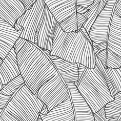 Palm Tree Leaf Print - black & white pattern, tropical print design