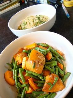 Roasted butternut squash with maple syrup and allspice with sauteed ...