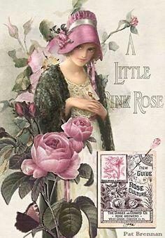 'A Little Pink Rose' ~ Vintage Advertisement Illustration for The Dingee and Conard Rose Co. Decoupage Vintage, Vintage Abbildungen, Images Vintage, Vintage Labels, Vintage Ephemera, Vintage Pictures, Vintage Cards, Vintage Paper, Vintage Postcards