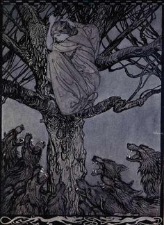 """""""The Wooing of Becfola"""" illustrated by Arthur Rackham from Irish Fairy Tales  written by James Stephens, 1920"""