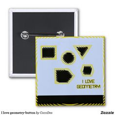 I love geometry-button 2 inch square button