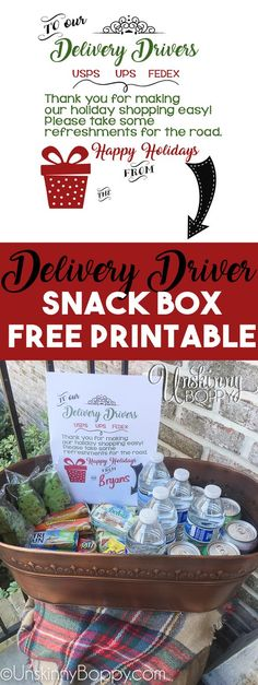 Doing some #BlackFridayShopping? Come get your porch snacks free printable and use #deliveringthanks to show holiday cheer to your delivery driver!