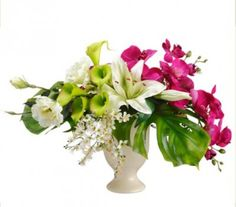 Calla Lily, Orchid, and Lily Silk Flower Arrangement - ARWF1239