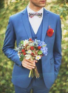 Bright blue and colour-pop details. Summer wedding suit ideas grooms #groom #suit