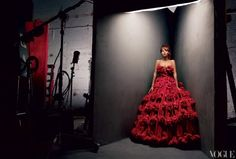 Beyoncé for Vogue March 2013 in Alexander McQueen red organza dress with 3-D flower embroidery
