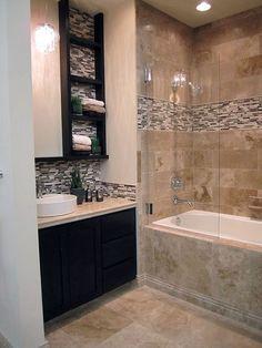 Best Modern Bathroom Shower Ideas For Small Bathroom Tan Bathroom, Modern Bathroom, Master Bathroom, Mosaic Bathroom, Bathroom Cabinets, Bathroom Tubs, Bathroom Colours, Condo Bathroom, Bath Tiles