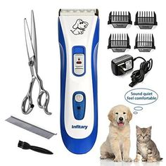 Pet Grooming Clipper Kit Dog Cat Professional Blade Series Cordless Trimmer BLUE #HILLPOW