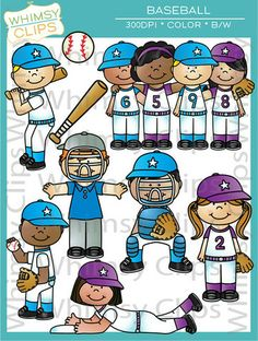 The baseball clip art set contains 34 image files, which includes 17 color images and 17 black & white images in png and jpg. All images are 300dpi for better scaling and printing. $