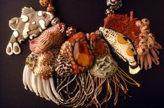 Necklace Detail | Robyn Gordon. 'Autumnal Reef, 1982'  Polymer clay, textile, amber, coral, shell