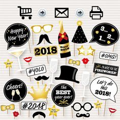new year photo booth printable props 2018 party props check your email new year photos