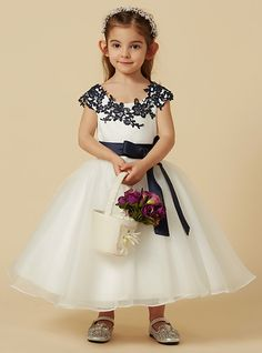 867502df1 A-Line Knee Length Flower Girl Dress - Lace / Tulle Short Sleeve Scoop Neck  with Bow(s) / Buttons / Sash / Ribbon by LAN TING BRIDE®