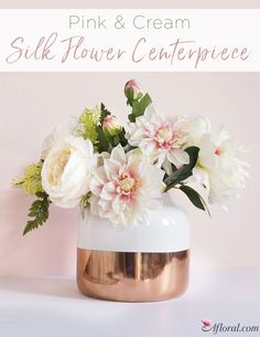 427 best wedding centerpieces images on pinterest in 2018 art silk flower centerpiece in pink cream placed elegantly in this white and copper ceramic vase silk flower centerpieceswedding reception mightylinksfo